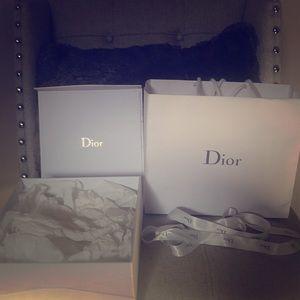 Dior empty box, shopping bag and ribbon.